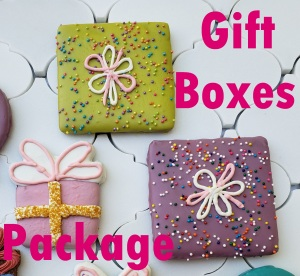 Gift boxes and Package with label Dog bakery kirkland redmond bellevue sammamish dog cake dog bakery barkery booboo barkery prim and pawper dog treats dog cookies